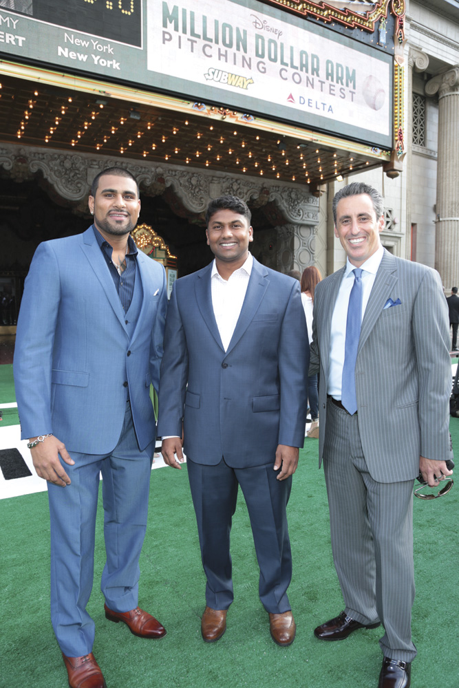 (l to r) Baseball players Rinku Singh, Dinesh Patel, and agent JB Bernstein – the real men behind Million Dollar Arm. Photo: Courtesy of Walt Disney Pictures