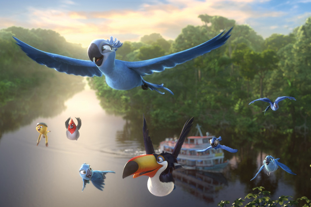 Jewel (Anne Hathaway) and the rest of the Rio 2 cast on their Amazon adventure. Photo courtesy of Blue Sky Studios for 20th Century Fox