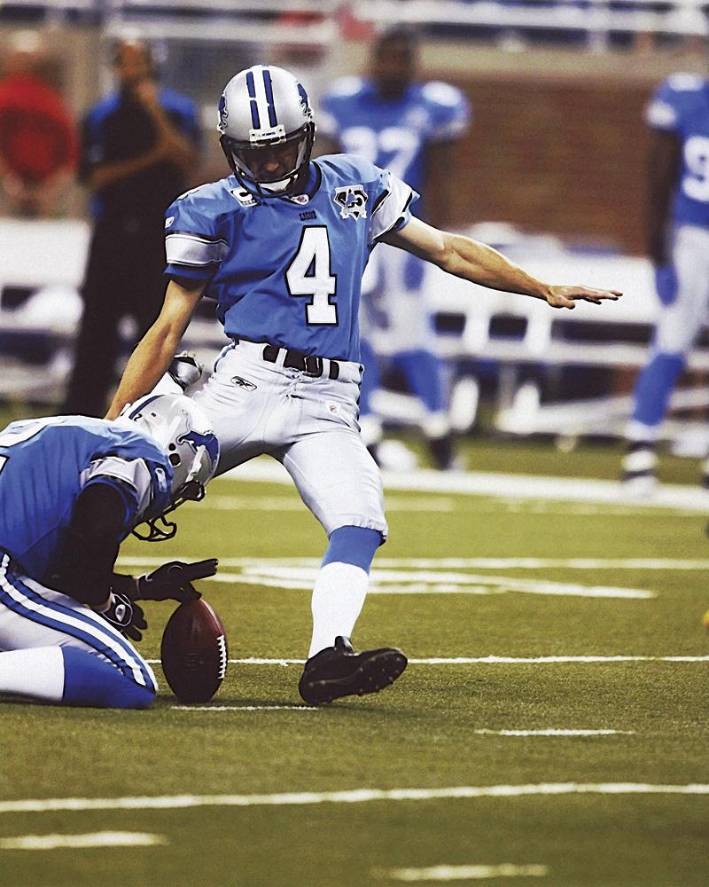 NFL Kicker for Detroit Lions Jason Hanson kicking a field goal. Photo courtesy of the Detroit Lions