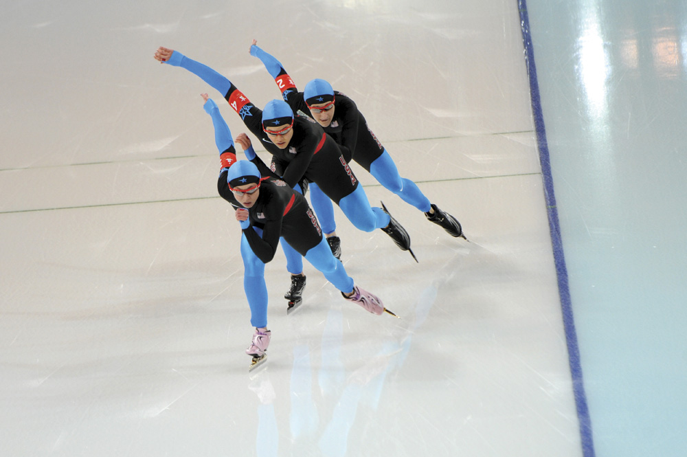US Olympic Speed Skater Nancy Swider-Peltz Jr and team competing at the Winter Olympics in Vancouver in 2010