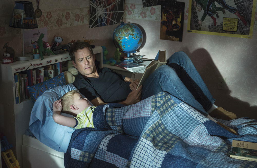 Actors Greg Kinner and Connor Corum who play Todd and Colton Burpo in Heaven is for Real.
