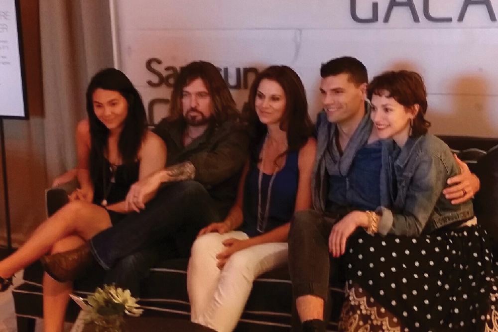 (l to r) Cast: Fivel Stewart, Billy Ray Cyrus, Jennifer Taylor, Joel Smallbone and Kerry Knuppe