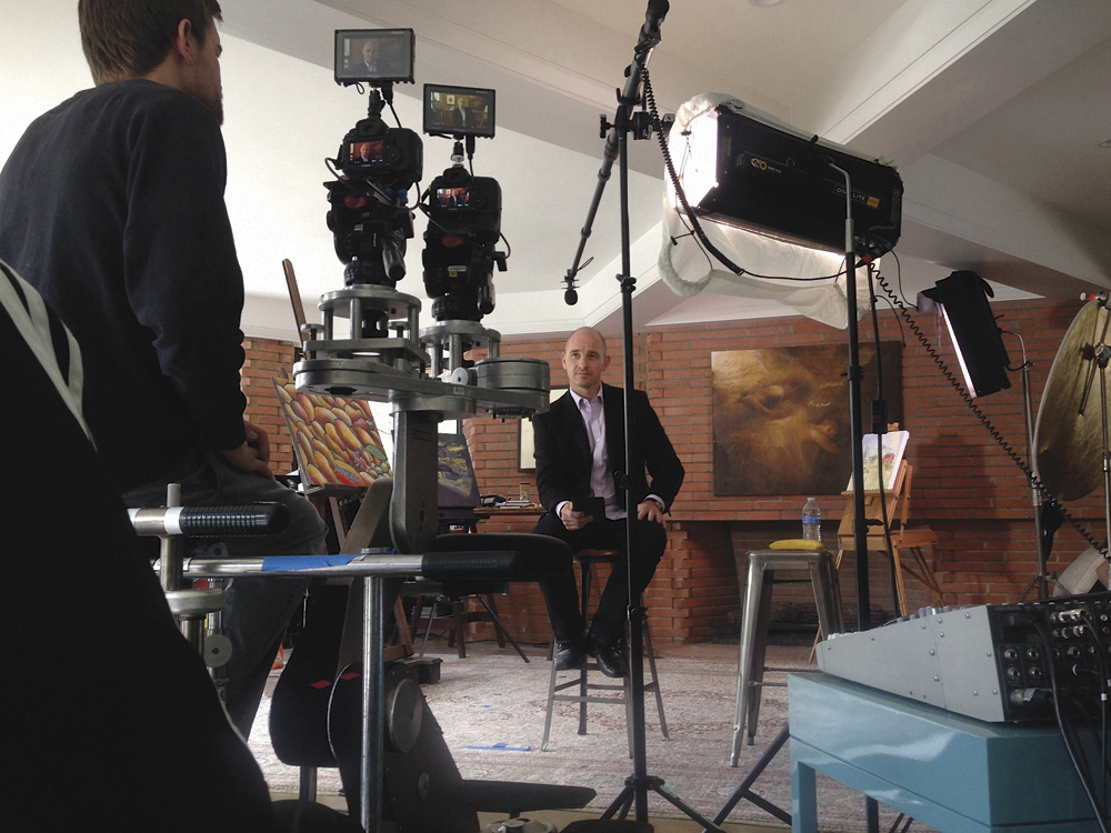 Behind-the-scenes with Tim Sisarich, Executive Director for Focus on the Family in New Zealand, while filming the documentary, Irreplaceable. Photograph courtesy of Focus on the Family