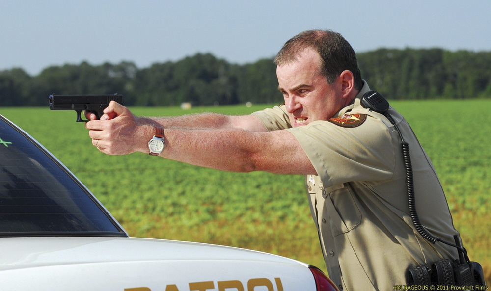 Alex Kendrick as Deputy Sheriff Adam Mitchell in Courageous. Courageous © 2011 Provident Films