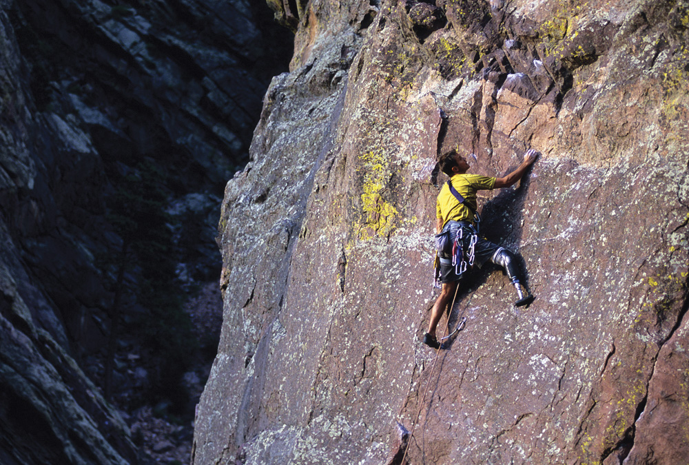 Craig DeMartino climbing in Eldorado Canyon State Park, Colorado