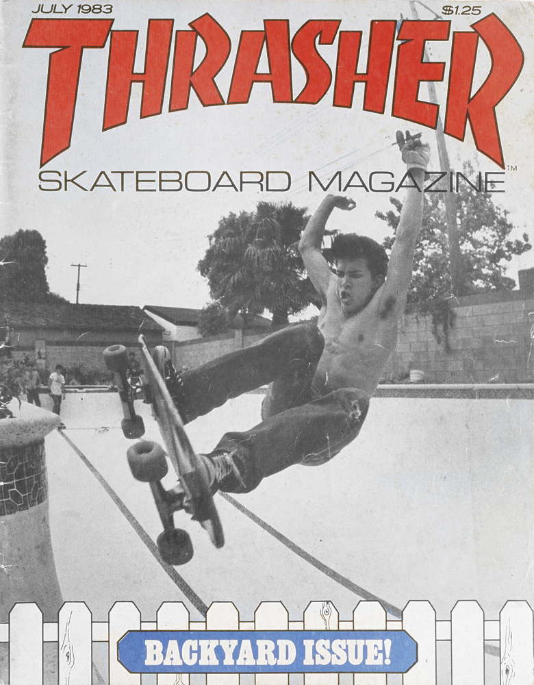 "Jay "" Alabamy"" – Frontside Ollie. Trasher Magazine cover July 1983. Photo: Friedman"