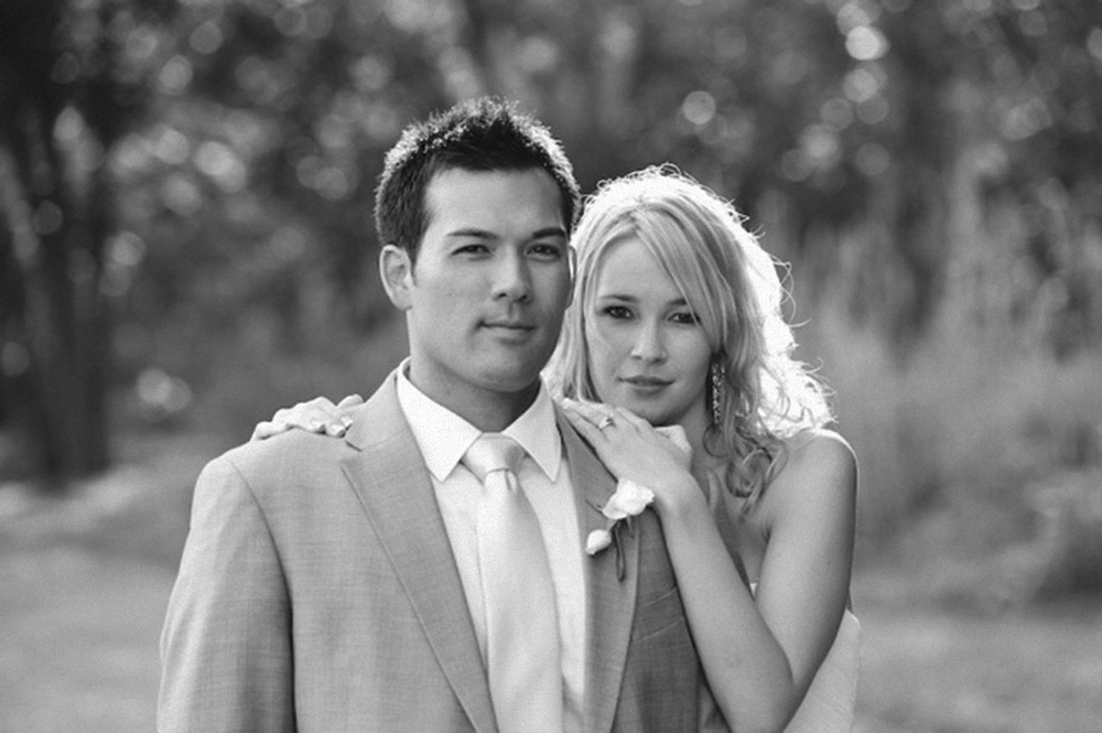 Professional soccer player Aaron Tredway with wife Ginny, on thier wedding day in De Hoek Manor, South Africa (2011)