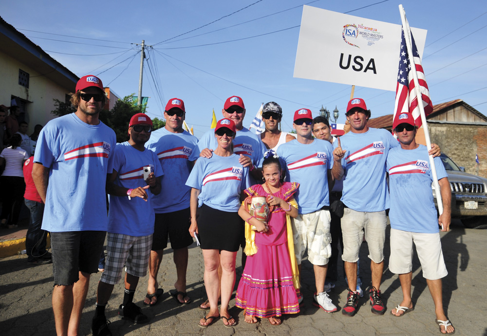 Surfer Rick Takahashi and Team USA in Nicaragua at ISA World Masters
