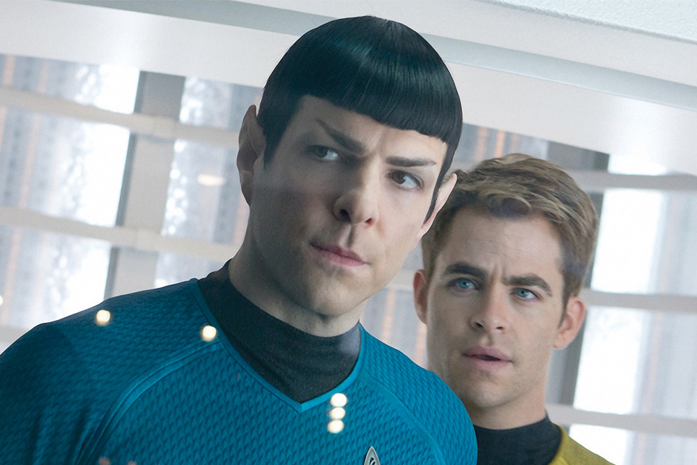 Chris Pine and Zachary Quinto as Captain Kirk and Spock in Star Trek: Into Darkness. © Paramount Pictures