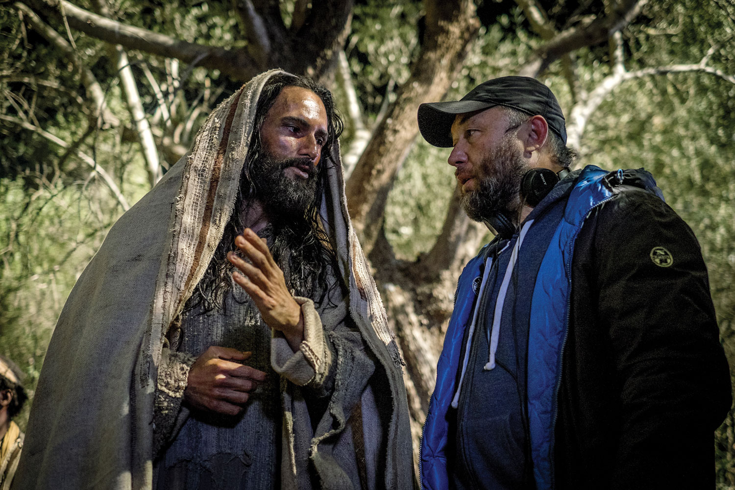 Rodrigo Santoro as Jesus and Director Timur Bekmambetov on the set of Ben-Hur from Metro-Goldwyn-Mayer Pictures and Paramount Pictures.