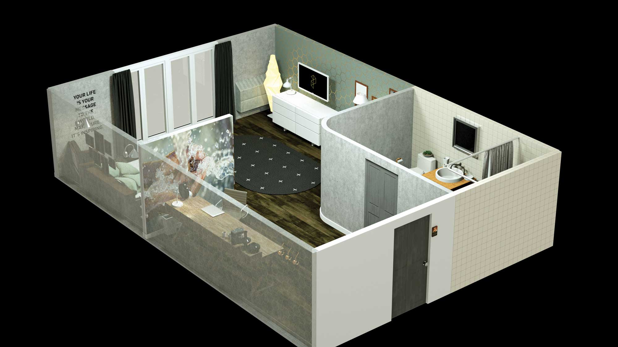 Rendering of a room in The Purpose Hotel.