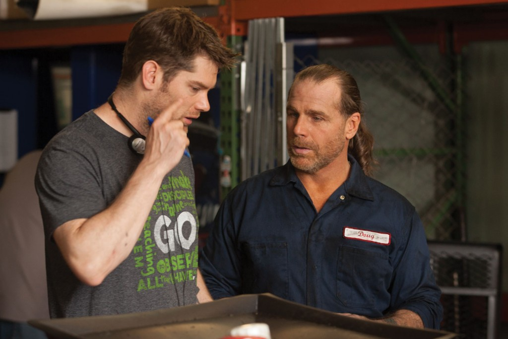 (l to r): Director Dallas Jenkins talks with Shawn Michaels on the set of The Resurrection of Gavin Stone.