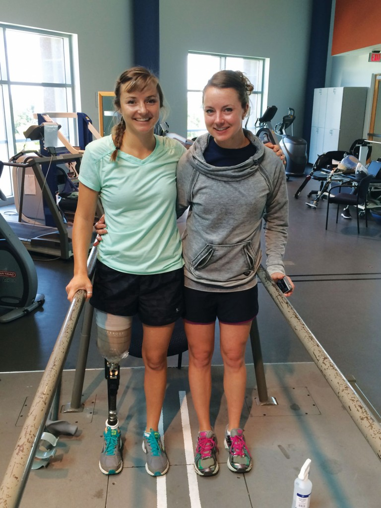 Christy with Jessica on her first day on a prosthetic leg, June 2015.