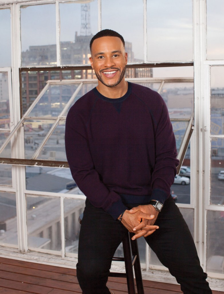DeVon Franklin: Vince Sweater with J Brand Jeans.