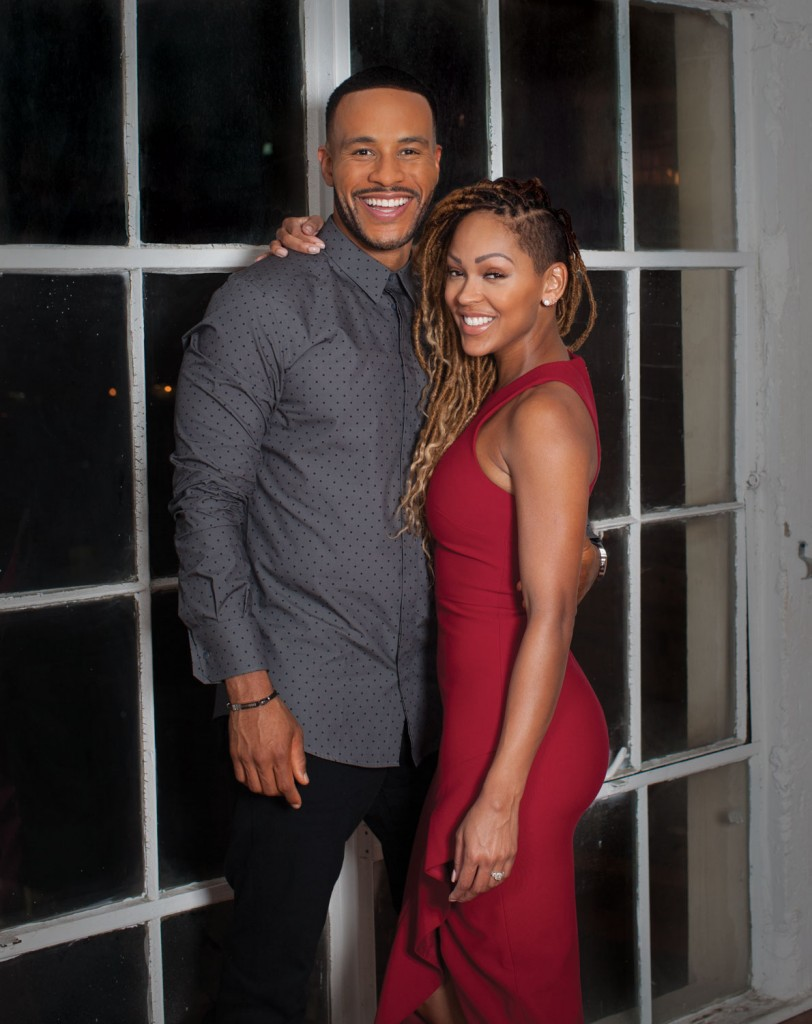 DeVon Franklin: Dolce and Gabbana Shirt. Meagan Good: Cinq a Sept Dress and Alejandro Ingelino Shoes.