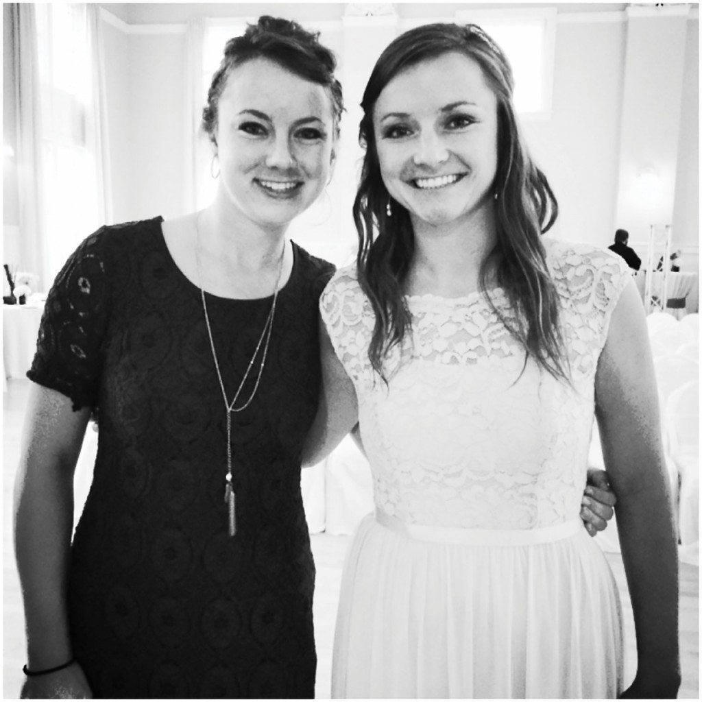 Jessica and Christy at a friend's wedding on November 2015.