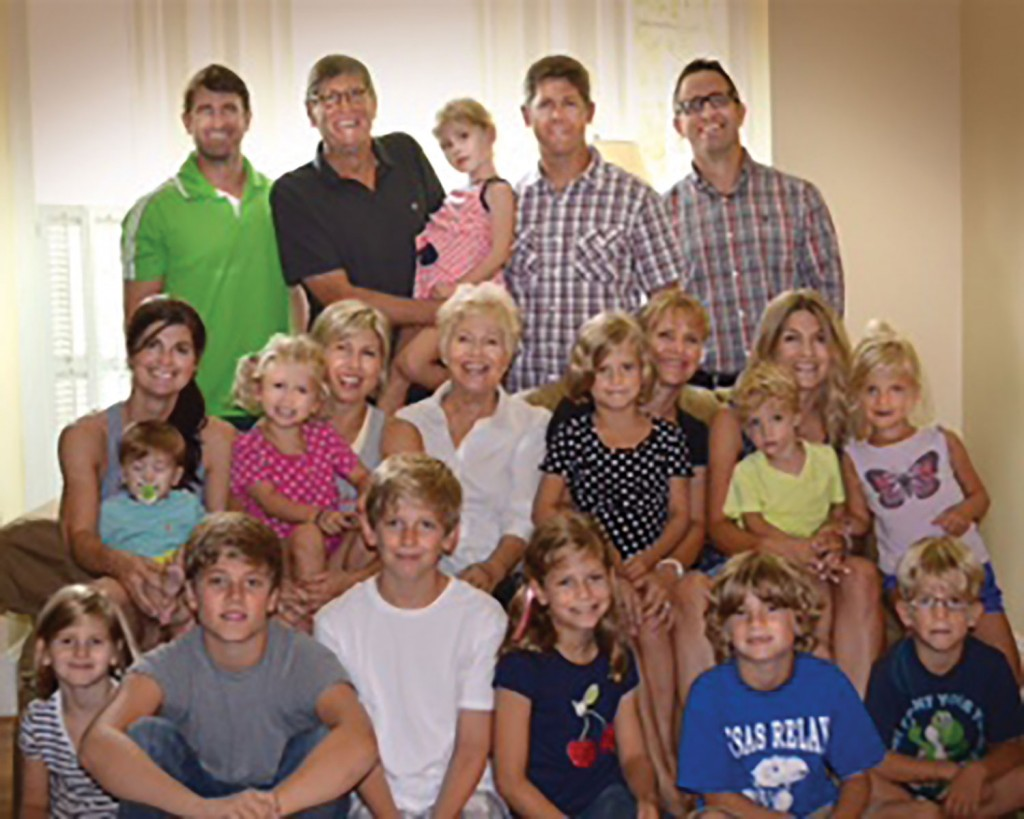 Jim and Anne Ryun with their four children (Heather, Drew, Ned and Catharine) and their spouses. Surrounded by twelve of their grandchildren.