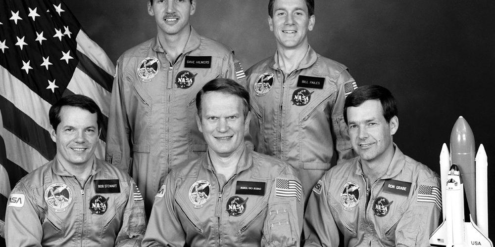 STS-51J Crew photo with Commander Karol J. Bobko, Pilot Ronald J. Grabe, Mission Specialists David C. Hilmers, Robert L. Stewart and William A. Pailes. Image Credit: NASA