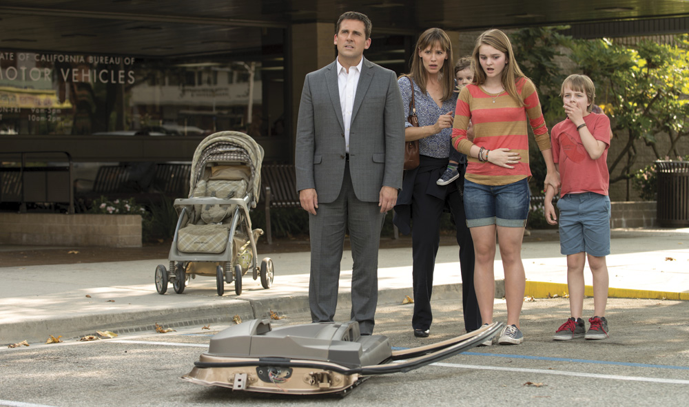 (l-r) Steve Carell, Jennifer Garner (holding baby played by twins: Elise Vargas & Zoey Vargas), Kerris Dorsey, & Ed Oxenbould