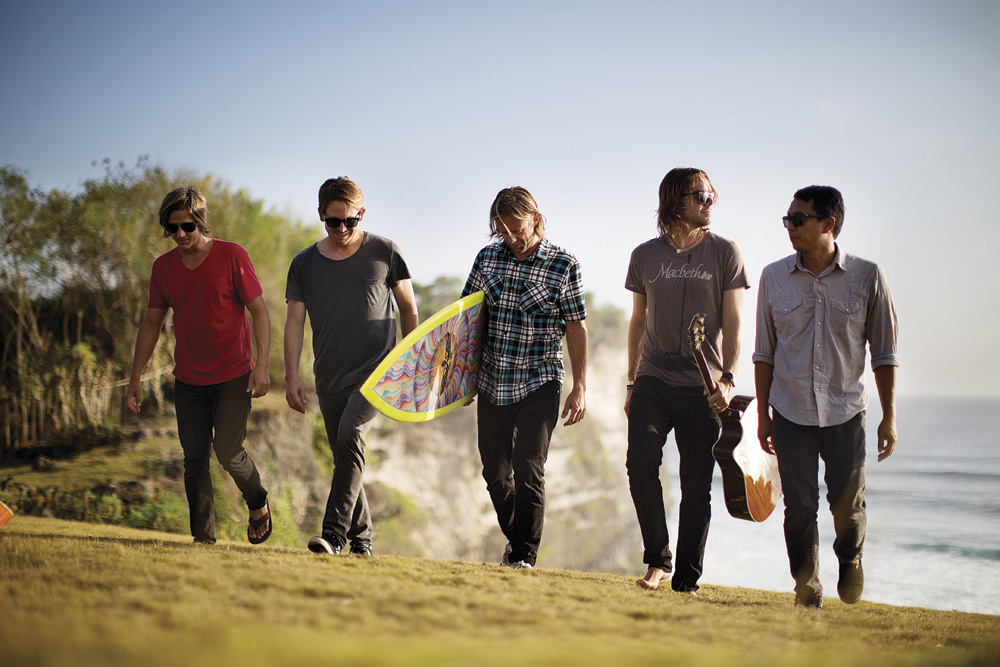 (l to r) Switchfoot's Tim Foreman, Chad Butler, Jon Foreman, Drew Shirley, Jerome Fontamillas. Photo by Brian Nevins