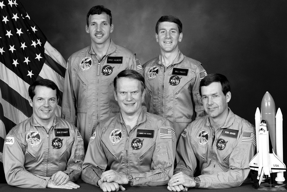 STS-51J Crew photo with Commander Karol J. Bobko, Pilot Ronald J. Grabe, Mission Specialists David C. Hilmers, Robert L. Stewart and William A. Pailes. Image Credit: NASA