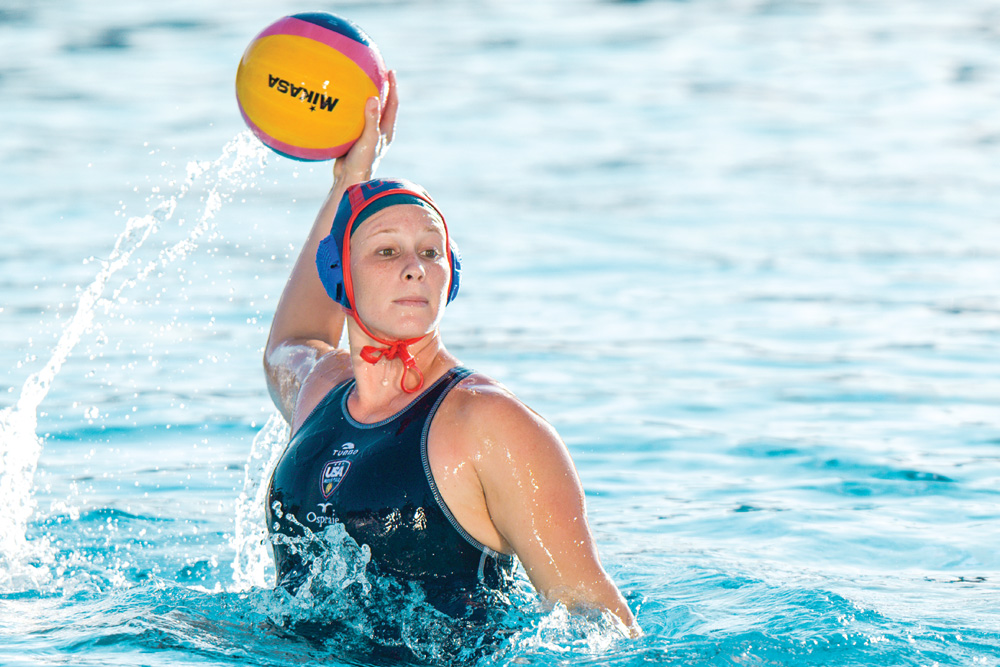 US National Water Polo Player Tanya Gandy. Photo by Michael Larsen