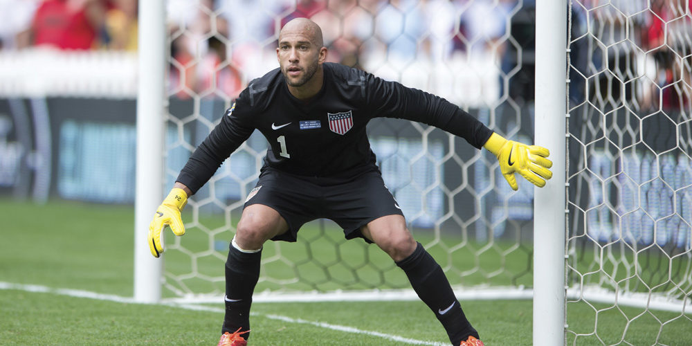 MLS Soccer Goalkeeper Tim Howard in front of the goal. Photograph by Brad Smith