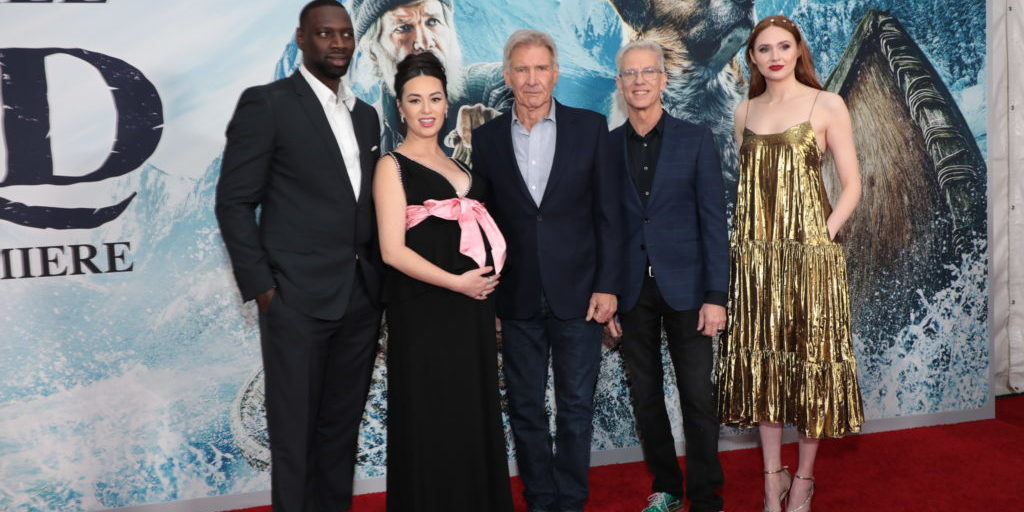 Omar Sy, Cara Gee, Harrison Ford, Chris Sanders and Karen Gillan arrive as Twentieth Century Studios' presents the World premiere of The Call of the Wild at the El Capitan Theater in Los Angeles, CA on Thursday, February 13, 2020.  (photo: Alex J. Berliner/ABImages)